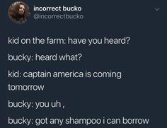 Bucky got that whole hair treatment just for steve Funny Marvel Memes, Avengers Memes, Marvel Jokes, Marvel Dc Comics, Marvel Avengers, Johnlock, Destiel, Bucky And Steve, Fandoms