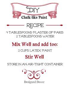 DIY Chalk-like Paint Recipe! | Designed Decor #diy #chalkpaintrecipe