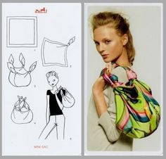 Hermes Knotting Card - Turn your sarong into a purse Scarf Knots, Diy Scarf, Scarf Rings, Ways To Tie Scarves, Diy Kleidung, Hermes Handbags, Designer Handbags, Diy Clothing, Diy Fashion