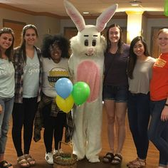 Loving the bunny costume! Gamma Upsilon-Wichita State volunteered a local senior living community's Easter Party.