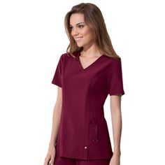 A perfect shape and unique details make this a very desirable scrub top. #Dickies #scrubs