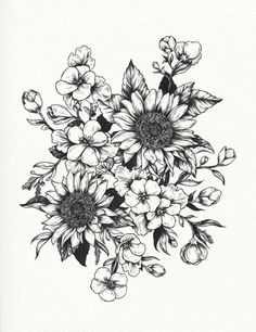 black and white sunflower tattoos - Google Search