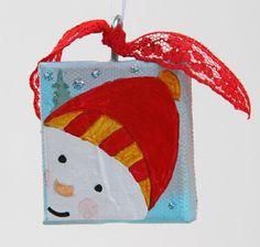 Mixed Media Snowman Christmas Ornament on Canvas by CarolaBartz, $5.00