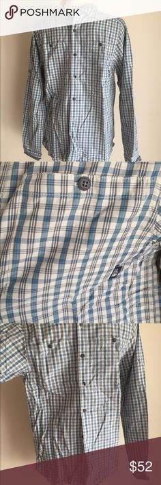 New The North Face Men's Shirt Button Front NWT New Authentic The North Face Men's Shirt Long Sleeve plus Print Blue Gray size Small New w tags I ship same or next day  Smoke and free The North Face Shirts Casual Button Down Shirts