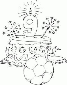 birthday cake age 9 coloring page - coloring.com
