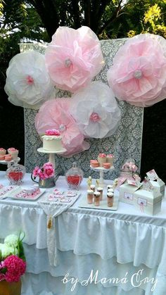 Romantic dessert table at a shabby chic birthday party! See more party ideas at CatchMyParty.com!