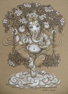 Ganesha Drawing, Ganesha Painting, Ganesha Art, Madhubani Painting, Air Brush Painting, Silk Painting, Indiana, Kerala Mural Painting, Charcoal Art
