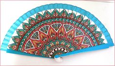 Cashemere/indian pattern wood fan Éventail bois Motif