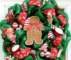 Gingerbread Mesh Wreath Sweets Candy. $110.00, via Etsy.