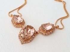 Blush necklace,Blush Morganite bridal necklace,Swarovski crystal necklace,Rose gold necklace,Bib necklace,blush bridesmaid gift,Statement