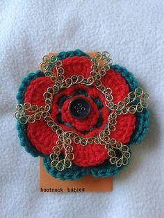 crochet celtic look brooch by bootneckbabies on Etsy, £5.00