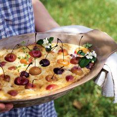 Cherry Ricotta Bake, a variation on a nostalgic Russian recipe, 'zapekanka'. From Anya Kassoff's 'Vibrant Table'.