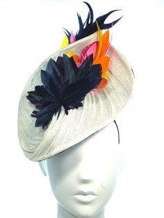 Feather and silk abaca hat - Bonnie Evelyn Millinery