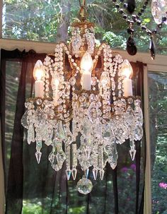Bohemian Victorian Antique Crystal Chandelier