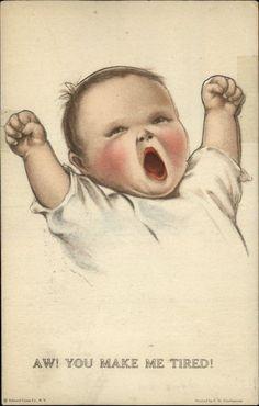 Baby Stretching Charles Twelvetrees Fold Back Novelty c1910 Postcard | eBay