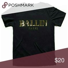 ⤵CLEARANCE ⤵Ballin Paris T shirt NWOT PRICE FIRM UNLESS BUNDLED.   T shirts run a few sizes SMALLER than usa sizes!  Please order as per the measurements given.  Measurements taken laying flat.   Tag size 2X (usa XL): bust 21/ length 29/ Sleeve 8 inches  Tag size 3X (usa 1X): bust 22.5/ length 29/ Sleeve 8 inches  Only 1 in each size available.   Material is cotton. Tops Tees - Short Sleeve