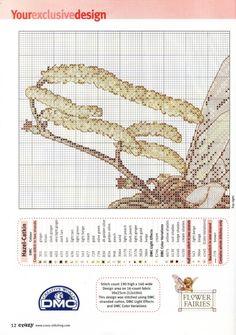 Cross stitch - fairies: Hazel-catkin fairy - Cicely Mary Barker (chart - part A2)