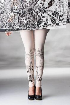 Vanilla city - powder pink - beige leggings with  delicate black city print
