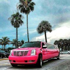 Miami Pink Limo, South Beach, Miami Beach Pink Escalade Limo Service, Pink Stretch Escalade Limousine.