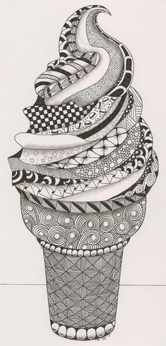 Glace Zentangle, pour des idées de Doodle et de zentangle originales. How to Zentangle. Zentangle Drawings, Doodles Zentangles, Zentangle Patterns, How To Zentangle, Zentangle Art Ideas, Mandala Art, Zantangle Art, Inspiration Art, Art Inspo