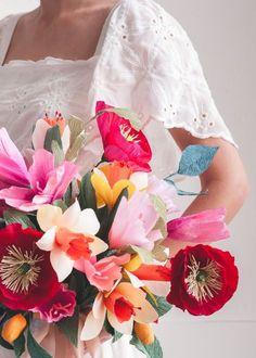crepe paper wedding bouquet   the house that lars built