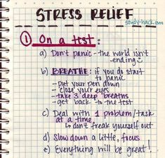 Some notes on stress relief: how to deal with test anxiety and long-term stress. More on relaxation and sleep:meditation , Best time to sleep at night,Power naps, more on sleep cycles. (Learned this today in BioPsych lecture (Dr. Lauren Graham)).