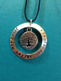 """""""Family Tree"""" $29 custom hand stamped jewelry  www.bythelakedesigns.com"""