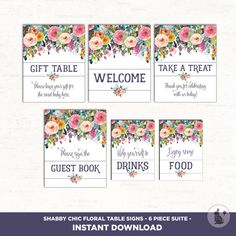 Printable Floral Baby Shower Table Signs. 6 Signs. Gift Table Favors Sign. Garden Flower Shower Table Decorations. Welcome. Guestbook