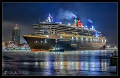 A transatlantic voyage on the Queen Mary 2 in first class of course! (Hamburg at night) by Dirk Rotermundt, via Queen Mary 2 Ship, Rms Queen Mary 2, Ocean Cruise, Caribbean Cruise, Hotel Istanbul, Cunard Ships, Best Cruise Ships, Steam Boats, Disney Cruise Tips