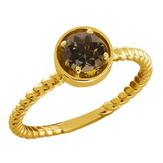 0.46 Ct Round Brown Smoky Quartz 14k Yellow Gold Ring * Don't get left behind, see this great  product : Ring Bands