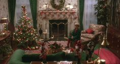 Home Alone movie house Christmas fireplace and stockings