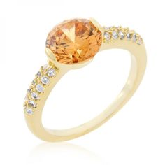 18k Gold Plated Champagne Isabelle Engagement Ring with Clear Cubic Zirconia Accents Polished into a Lustrous Goldtone Finish. Feminine and elegant. #mycustommade