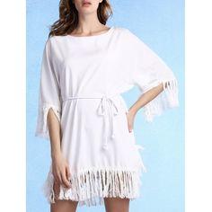Модный круглый воротник 3/4 рукава кисточки сплайсингу платье для женщин  #Модный #круглый #воротник #3/#4 #рукава #кисточки #сплайсингу #платье #для #женщин
