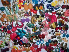 Vintage Costume Jewelry Lot 100 Pierced Retro Earrings Enamels Plastics 1980's #Unbranded #ManydifferentstylesAllpiercedearrings