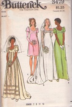 MOMSPatterns Vintage Sewing Patterns - Butterick 3478 Vintage 70's Sewing Pattern DREAMY Sweetheart Neckline Empire Waist Lace Top, Puff Juliet Lace Sleeves Wedding Dress, Formal Gown Size 14