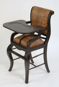 Distressed Black with Brown Leopard : Baby High Chairs - Premium Quality - Available Online, Premium Quality, Elegant Custom Baby High Chairs Big Comfy Chair, Brown Leopard, Cool Chairs, Kids Furniture, Baby Fever, Future Baby, Beautiful Babies, Baby Kids, Baby Baby