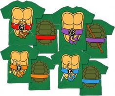 Adult shirts to go with the boys costumes! TMNT Teenage Mutant Ninja Turtles Costume Green T-shirt Ninja Turtle Party, Ninja Party, Turtle Birthday, 5th Birthday, Birthday Parties, Turtle Costumes, Halloween Costumes, Halloween Ideas, Easy Costumes