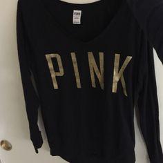 black vs long sleeve gold lettering PINK Victoria's Secret Sweaters Crew & Scoop Necks