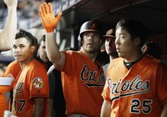 Judge, Yankees batter Orioles 16-3 for 4th straight win  -  June 10, 2017:   Baltimore Orioles' Chris Davis, center, celebrates with teammates after hitting a home run during the seventh inning of the team's baseball game against the New York Yankees on Saturday, June 10, 2017, in New York. (AP Photo/Frank Franklin II)