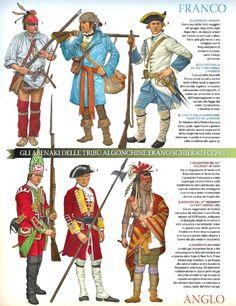 Top Left to Bottom right; Abenaki warrior,Canadian militia,Cadet Compagnie Francs De La Marine ,Grenadier 45th Foot   , Sergeant 22nd (Inniskilling) Foot  Mohawk warrior