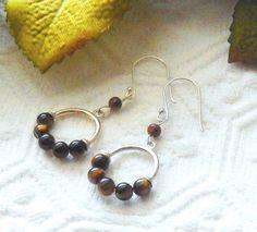 NWOT Handcrafted .925 Sterling Silver Tigers Eye Pierced Dangle Earrings #Handmade #DropDangle