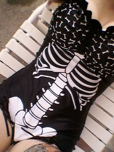 Mandy Skeleton Swimsuit  -  by Too Fast  -  color: Black & White  -  size:  Medium  -  $42.99