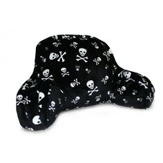 Thro Skull and Crossbones Micro Plush Bedrest in Black/White - 2920 BLK WHT