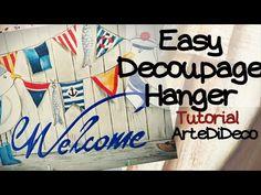 Decoupage easy:Hanger!Εύκολο καδράκι/κρεμάστρα με χαρτοπετσέτα χωρίς κόλ... Decoupage Glue, The Creator, Hanger, Napkins, Easy, Projects, Crafts, Youtube, Trays