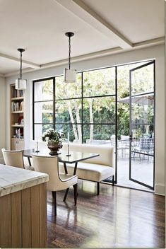 Have you seen the latest interior design trend of gorgeous, black steel windows and doors? I've decided it can work in both modern or traditional settings. Style At Home, Steel Windows, Steel Doors, Big Windows, Black Windows, Iron Windows, Casement Windows, Modern Windows, Wall Of Windows
