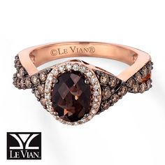 Kay - Le Vian Chocolate Quartz 5/8 ct tw Diamonds 14K Gold Ring