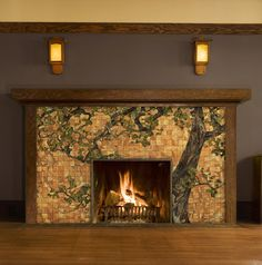 I know it's a fireplace, but I like this for the color combination of the tiles and the plum-ish-chocolate wall. Oak Tree Glass Mosaic for Fireplace Front by Theodore Ellison Designs Fireplace Fronts, Fireplace Facade, Craftsman Fireplace, Home Fireplace, Fireplace Surrounds, Fireplace Design, Fireplaces, Modern Fireplace, Fireplace Mantels