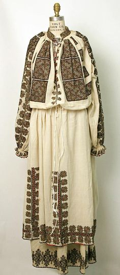 Ensemble Jacot Bitterman Museum of Art, New York Costume Institute Date: century Culture: Romanian Medium: cotton, silk Credit Line: Gift of Princesse Serge Wolkonsky, 1954 Folk Embroidery, Shirt Embroidery, Historical Costume, Historical Clothing, Popular Costumes, Vintage Outfits, Vintage Fashion, Lesage, Ethnic Dress
