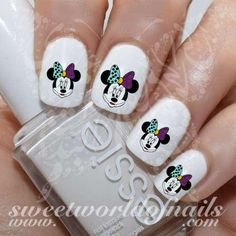 Nightmare before Christmas Nail art Minnie Mouse as Sally Water Decals https://www.sweetworldofnails.com