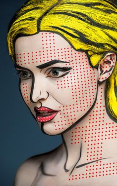 Roy Lichtenstein / Pop Art inspired Halloween costume by Alexander Khokhlov photography Pop Art Makeup, Sfx Makeup, Costume Makeup, Makeup Ideas, Pop Art Costume, Makeup Lips, Makeup Tutorials, Arte Pop, Alexander Khokhlov